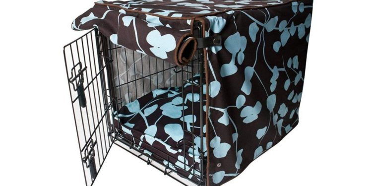 dog crate with cover on