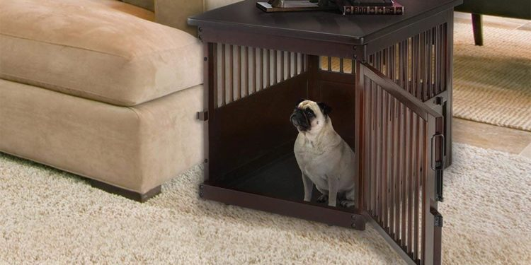 pug inside a wooden dog crate