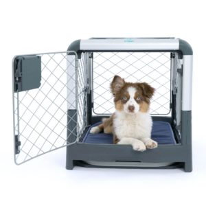 revol crate with dog inside